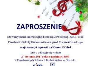 Koncert kolęd w PSB 27.01.2017 p godz. 18:00
